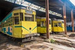Vecchi tram di Calcutta Fotografia Stock Libera da Diritti