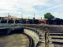 Vecchi treni immagine stock