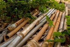Vecchi tubi d'annata del PVC con il tubo flessibile dell'acqua - verde all'aperto Le del giardino fotografia stock libera da diritti