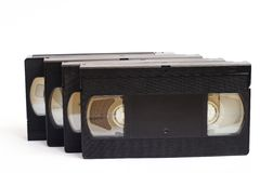 Vecchi video vassoi di VHS Fotografia Stock