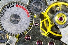 Vecchia alta risoluzione meccanica del movimento a orologeria con tempo di parole per Immagine Stock Libera da Diritti