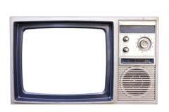Vecchia annata TV isolata su priorità bassa bianca Fotografia Stock