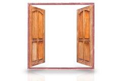 Vecchia apertura del legno delle finestre isolata fotografia stock libera da diritti