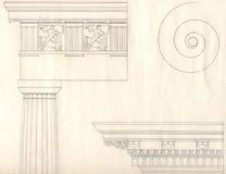 Vecchia architettura di stile della Grecia Fotografia Stock