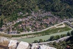 Vecchia area di Gorat nella città di Berat, Albania Immagine Stock