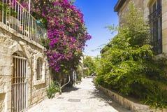 Vecchia area Yemin Mishkenot Shaananim a Gerusalemme Fotografia Stock