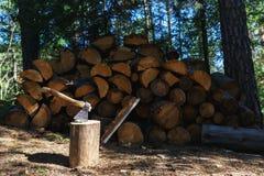 Vecchia ascia che sta contro i pezzi accatastati di legna da ardere Fotografia Stock