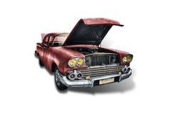 Vecchia automobile americana rossa degli anni 50 su fondo bianco immagine stock libera da diritti