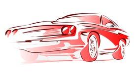 Vecchia automobile del muscolo, schizzo colorato profilo di vettore Immagini Stock