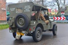 Vecchia automobile dell'esercito americano su una parata Fotografie Stock
