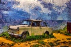 Vecchia automobile della pittura a olio su un mare Immagini Stock