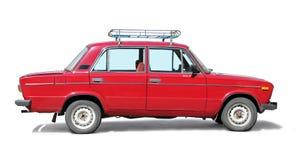 Vecchia automobile rossa Fotografia Stock Libera da Diritti