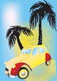 Vecchia automobile sulla spiaggia illustrazione di stock
