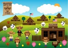 Vecchia azienda agricola americana dell'America con i cowboy ed i cowgirl illustrazione vettoriale