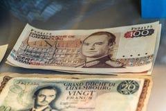 Vecchia banconota del Lussemburgo 100 franchi, duca Jean Fotografia Stock