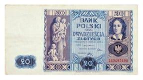 Vecchia banconota polacca Fotografia Stock Libera da Diritti