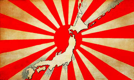 Vecchia bandiera del Giappone con la mappa Fotografia Stock Libera da Diritti