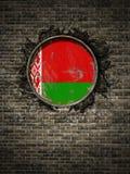 Vecchia bandiera della Bielorussia in muro di mattoni Immagini Stock Libere da Diritti