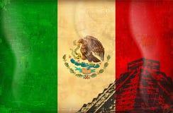 Vecchia bandierina del grunge del Messico Immagini Stock