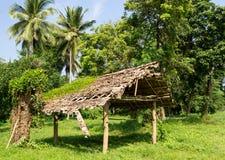 Vecchia baracca di legno sgangherata nella foresta Fotografia Stock Libera da Diritti