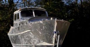 Vecchia barca classica Tutta la barca d'argento di colore fotografia stock libera da diritti