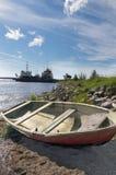 Vecchia barca di legno sulla spiaggia, le vecchie navi nel Mare del Nord Fotografie Stock Libere da Diritti