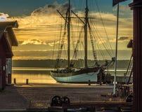 Vecchia barca nel cantiere navale Immagini Stock