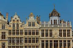 Vecchia bella facciata a Grand Place a Bruxelles, Belgio Fotografia Stock