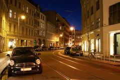 Vecchia Berlino alla notte Fotografie Stock Libere da Diritti