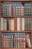 Vecchia biblioteca, libri della copertura sugli scaffali Fotografia Stock