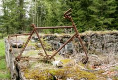 Vecchia bici arrugginita Immagine Stock Libera da Diritti
