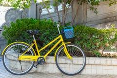 Vecchia bici gialla Immagini Stock Libere da Diritti