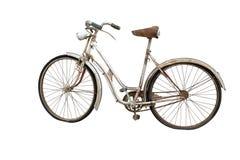 Vecchia bicicletta isolata su bianco Fotografie Stock Libere da Diritti