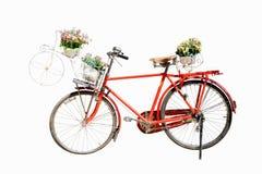 Vecchia bicicletta rossa con la merce nel carrello del fiore isolata sul backgrou bianco Fotografie Stock