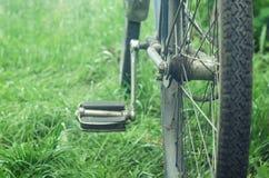 Vecchia bicicletta su erba verde Fotografie Stock Libere da Diritti