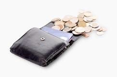 Vecchia borsa con le carte assegni Fotografia Stock
