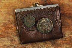 Vecchia borsa di cuoio con le crepe antiche Fotografie Stock