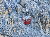 Vecchia cabina di funivia ad Aiguille du Midi, Chamonix-Mont-Blanc, Francia Fotografie Stock