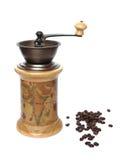 Vecchia caffè-smerigliatrice su priorità bassa bianca Fotografia Stock Libera da Diritti