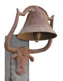 Vecchia campana arrugginita isolata. Immagine Stock
