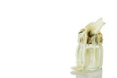Vecchia candela su bianco Immagini Stock