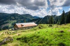 Vecchia capanna alpina con il prato nelle alpi La Baviera, Allgau, Germania Agricoltura tradizionale nelle montagne Fotografia Stock Libera da Diritti