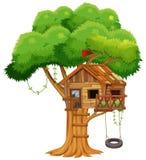 Vecchia capanna sugli'alberi sul ramo illustrazione vettoriale
