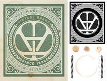 Vecchia carta con gli elementi Stile barrocco Fotografia Stock