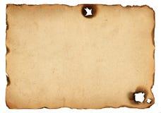 Vecchia carta con i bordi bruciati Fotografia Stock Libera da Diritti