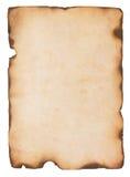 Vecchia carta con i bordi bruciati Fotografie Stock