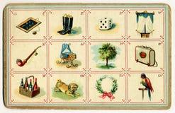 Vecchia carta di bingo figurata Immagine Stock Libera da Diritti