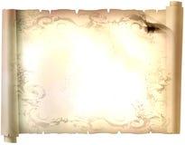 Vecchia carta di carta, carta dell'oro per la scrittura, o fondo, illustrazione, rotolo Immagini Stock