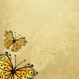 Vecchia carta di lerciume con le farfalle Fotografie Stock Libere da Diritti