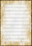 Vecchia carta di musica dello spazio in bianco di lerciume immagini stock